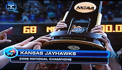 Screenshot of TV proclaiming the Jayhawks as National Champions