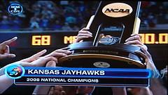 Screenshot of TV proclaiming the Jayhawks as National Champions