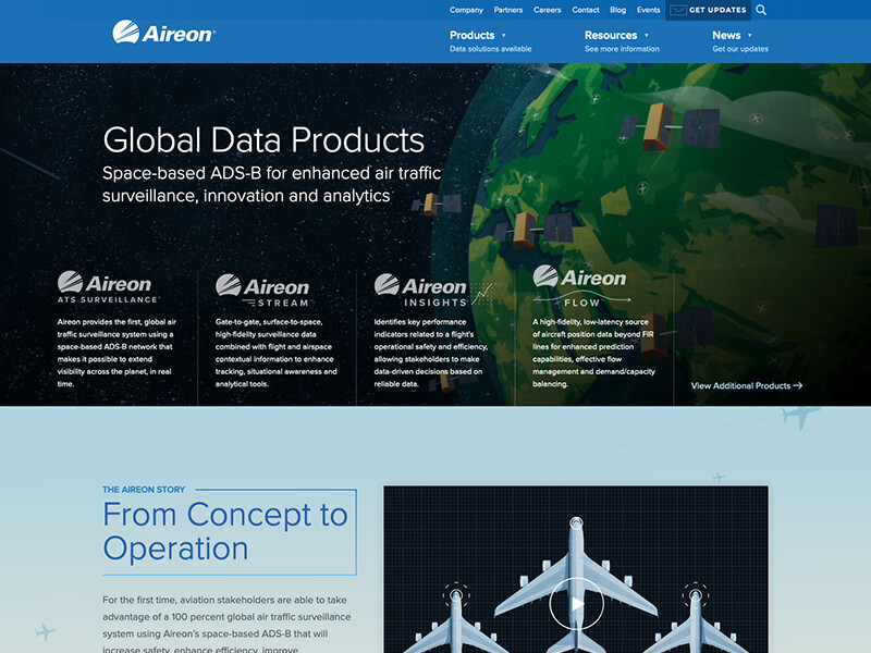 Updated homepage of Aireon.com