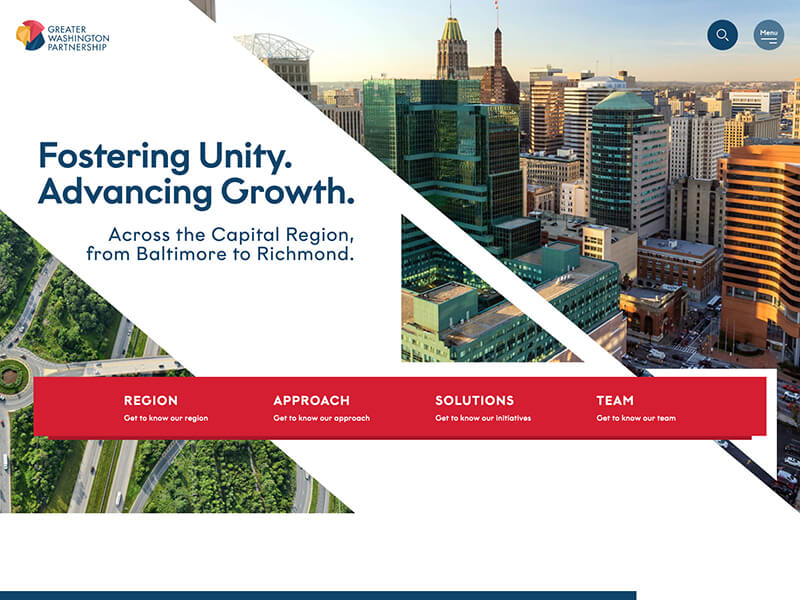 Homepage of the Greater Washington Partnership site with imagery from DC, Baltimore, and Richmond